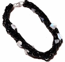 Sterling Silver Sparkle Black Spinel,Rainbow Moonstone choker Jewelry necklace