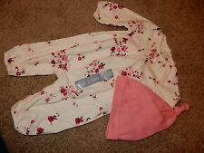 NWT 0-3M BABY GAP Floral Long Sleeve Romper Pants Outfit & Knot Beanie HAT set