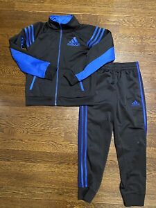 Adidas Boys Zip Front Track Suit Black/Royal Blue Size Small (7)