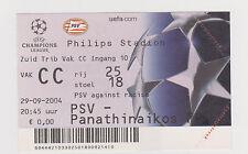 Sammler Used Ticket / Entrada PSV Eindhoven v Panathinaikos Athens 29-09-2004 CL