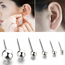 Womens Silver Earrings Round Ball Bead Studs Plated Gift Jewellery Stud 925 UK