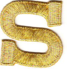 """LETTERS-GOLD METALLIC 1 3/4"""" LETTER """"S"""" - Iron On Embroidered Applique"""