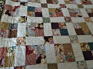 "Beautiful Handmade Patchwork Quilt Machine Quilted Lovely Browns 60"" X 62"""