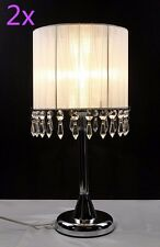 2xTouch Crystal Chandelier Lamp Table Cafe Bedside Lamp Brass Base White 42cmH