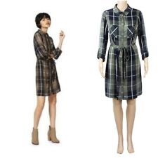 Ex F&F Ladies KHAKI NAVY Mix Check Shirt Dress Size 6 - 22