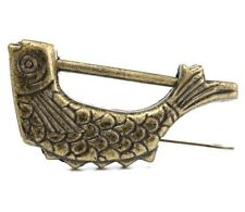Retro Vintage Brass Chinese Old Style Fish Lock & Key Antique Collectible Gift @