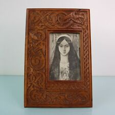 Arts & Crafts norse viking celtic carved wooden photo picture frame.