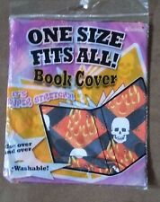 New It's Academic One Size Fits All Super Stretchy Book Cover Flames & Skulls
