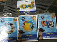 Toy Story 4 Inflatable Swim Set 2 Arm Floats- Beach Ball- 1 Swim Ring & Goggles
