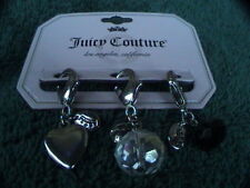 juicy couture 3 charms heart clear cut bead and black cut bead silver tone