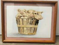 Libby Norris Watercolor original Of 3 Pigs In A Basket Country Art folk art