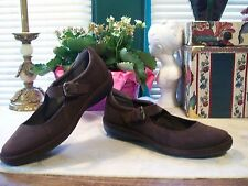 Lands' End Suede Mary Janes SZ 6B....Dark Chocolate Brown...New