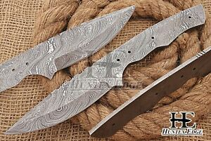 HUNTEX Custom Hand-Forged Damascus Steel 240 mm Long Full Tang Blank Blade Knife