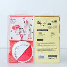Cute Colorful Fruit Portable Headset Earphone w/Earphone Line Storage Box