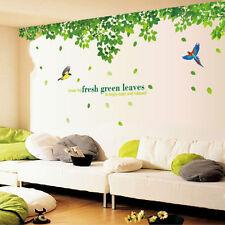 Green Leaves Bird Wall Sticker Art Decal TV Background Living Room Home Decor
