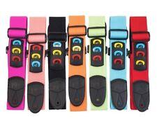 More details for neon bright cotton adjustable guitar strap pick holder free picks plec slots kid