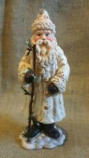 """9.75"""" PLASTER OLD WORLD SANTA WALKING STICK WITH HOLLY LOTS OF DETAIL EUC"""