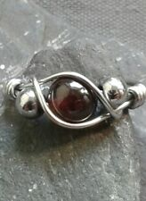 Handmade Natural Garnet Gemstone Silver Wire Wrapped Ring ANY SIZE