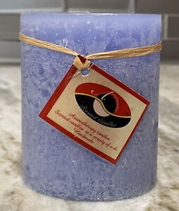 Handcrafted Textured 3.25x4 Scented BLUE SKIES Oval Decorative Pillar Candle