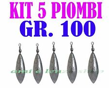 5 PIOMBI A PERA CON GIRELLA GR 100 PESCA BOLENTINO SURF CASTING CARP FISHING