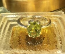 Genuine 925 Sterling Silver Natural Peridot Gemstone Ring Size 6.75