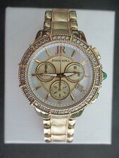 Judith Ripka SS Diamonique Goldtone Chronograph Watch NEW Battery Sz Small MINT