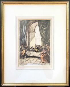 William Mark Young The Last Supper Original Signed Etching Framed Matted 8 x 12