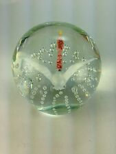Vintage Gentile Paperweight with Flying Goose & Air Bubbles  Art Glass 3 1/2""