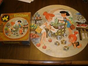 Vintage 1971 Flintstones Round 125 Piece Whitman Puzzle COMPLETE