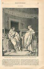 Deux Augures par Jean-Léon Gérôme/Figure de Juif Paris GRAVURE OLD PRINT 1861