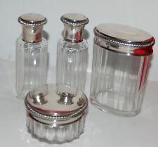 Nécessaire de salle de bain, cristal et argent estampillé (Minerve)