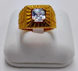 MEN RING WHITE SAPPHIRE CZ 24K YELLOW GOLD FILLED GP SOLITAIRE PRESIDENT SIZE 8