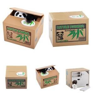 Panda Stealing Coin Money Cat Penny Cents Piggy Bank Saving Box Kids Gift