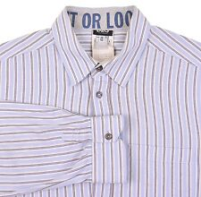 Dolce & Gabbana 'Use It Or Loose It' Blue Striped Cotton Mix Dress Shirt 38