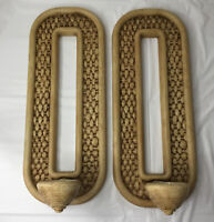 VTG wicker faux Candle Holders wall Sconces Boho Cottage mid century  Homco Pair