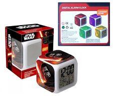 Star Wars Orologio Sveglia Digitale CUBO con LUCE Led Multi-Colore Originale