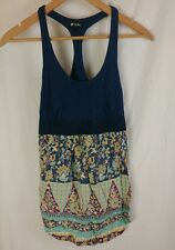 Lily White Medium Tank Top Floral Print with Stripes Made in USA Elastic Cute!