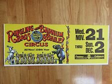 Vintage RINGLING BROS & BARNUM & BAILEY CIRCUS 108th Year SUBWAY Cardboard Sign