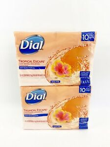 TWO Dial Tropical Escape Soap Bars 4 oz each 10 Pack Deodorant Soap Discontinued