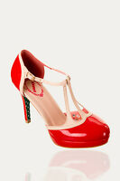 Banned BETTY Polka Dot VTG Shiny Pumps Varnished Shoes 50s Rockabilly Heels RED