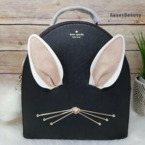 NWT Kate Spade Bunny Rabbit Sammi Hop To It Backpack Bag Purse Black Leather Bag