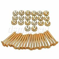 Set of 20 Guitar Neck Joint Ferrules & Screws Gold 15mm-Dia