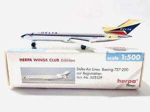 1:500 Herpa Wings Club Model Delta AirLines Boeing B727-232A HE593129 RegN515DA