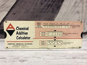 Vintage 1956 Chemical Additive Calculator Slide Rule Chart Armour Chicago