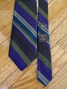 NWOT Robert Talbott Purple & Green Striped Estate Silk Neck Tie USA