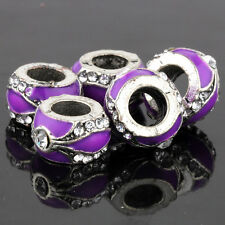 5Pcs White Gold Crystal Fit Plated Silver Beads Purple Charm European Bracelet