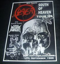 SLAYER concert poster Top Hat Dunlaoghaire Dublin 1988 South Of Heaven Tour repo