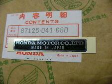 Honda CB 750 Four Aufkleber Rahmen Plate, name
