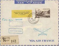 LETTRE PAR AVION INAUGURATION DU SERVICE REGULIER PARIS LE CAIRE DJIBOUTI  1950