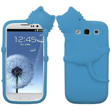 For Samsung Galaxy III 3 Rubber SILICONE Skin Gel Case Phone Cover Baby Blue Cat